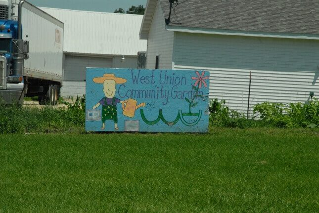 Sign Reading West Union Community Garden